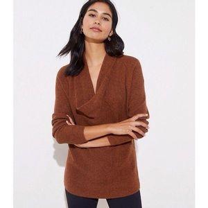 LOFT Cowl Neck Tunic Sweater in Dark Maple Melange